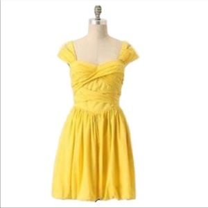 anthro Leifsdottir Yellow Bamboo Garden Bow Dress